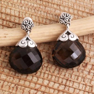 Quartz dangle earrings, 'Smoky Briolette' - Heart Shaped Smoky Quartz Sterling Silver Earrings