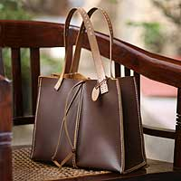 Leather handbag, 'Milk Chocolate' - Brown Leather Shoulder Bag