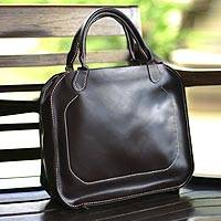 Leather handbag, 'Brown Chic' - Leather handbag