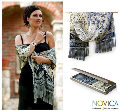 Silk batik shawl, 'Golden Blue Garden' - Hand Made Floral Silk Shawl