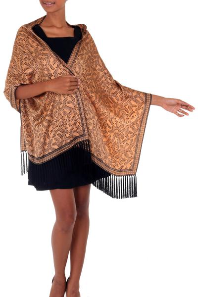 Silk batik shawl, 'Favorite Memories' - Silk batik shawl