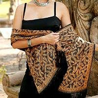 Silk batik shawl, 'Golden Fern' - Handmade Silk Batik Shawl from Indonesia