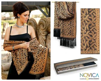 Silk batik shawl, 'Golden Fern' - Handmade Silk Batik Shawl from Indonesia