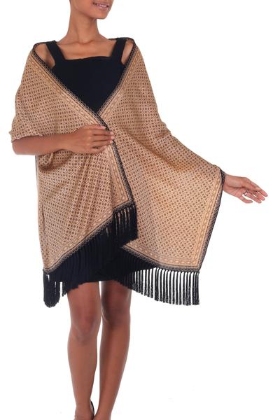 Silk batik shawl, 'World Views' - Indonesian Batik Silk Shawl