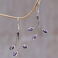 Amethyst flower earrings, 'Lilac Leaves' - Indonesian Amethyst Sterling Silver Dangle Earrings