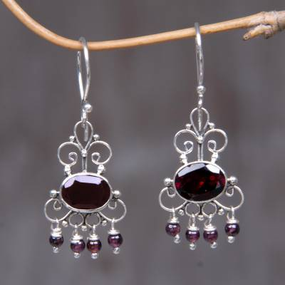 Garnet dangle earrings, 'Crown Princess' - Sterling Silver Garnet Chandelier Earrings