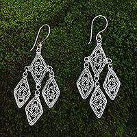Sterling silver dangle earrings, 'Diamonds in Lace' - Sterling silver dangle earrings