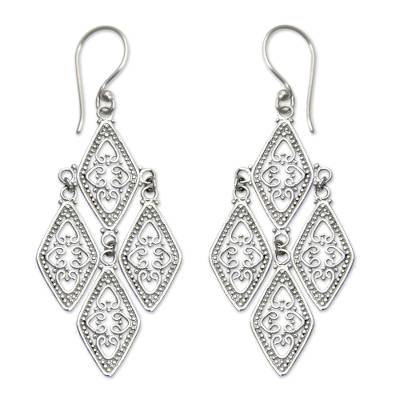 Sterling silver dangle earrings, 'Diamonds in Lace' - Sterling silver dangle earrings