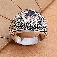 Amethyst domed ring, 'Bali Treasure' - Handcrafted Sterling Silver and Amethyst Domed Ring