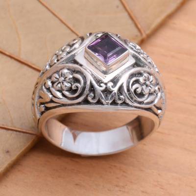 Amethyst domed ring, 'Bali Treasure' - Amethyst domed ring