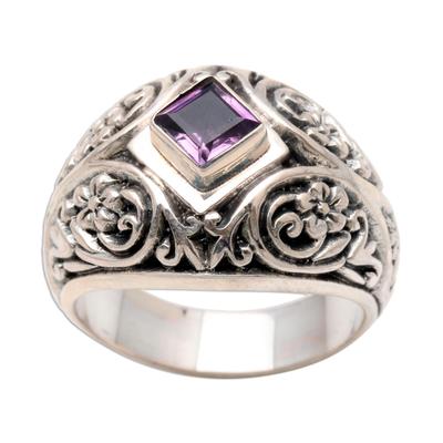 Amethyst domed ring, 'Bali Treasure' - Amethyst domed ring