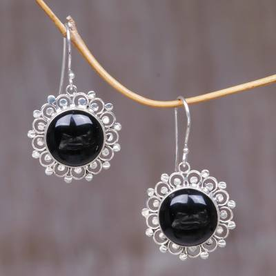 Onyx dangle earrings, 'Halo' - Floral Sterling Silver Onyx Dangle Earrings