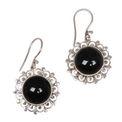 Floral Sterling Silver Onyx Dangle Earrings