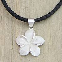 Sterling silver pendant necklace, 'Frangipani'