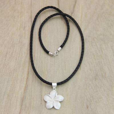 Sterling silver pendant necklace, 'Frangipani' - Hand Crafted Women's Floral Sterling Silver Necklace