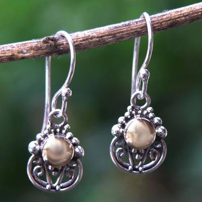 Novica Gold accent dangle earrings, Filigree Sun
