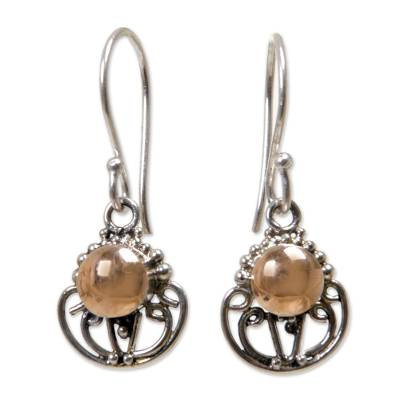 Gold accent dangle earrings, 'Eastern Sun' - Gold Accent Sterling Silver Dangle Earrings