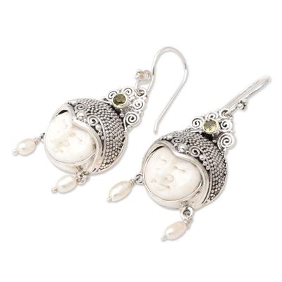 Pearl and peridot dangle earrings, 'Day Dreamers' - Pearl and Peridot Carved Bone Earrings
