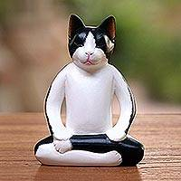 Wood statuette, 'Yoga Cat' - Hand Carved Albesia Wood Cat from Bali and Java