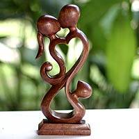 Wood sculpture, 'Family Harmony' - Unique Indonesian Wood Sculpture