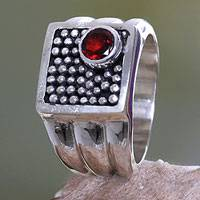 Garnet cocktail ring, 'Combination' - Hand Made Indonesian Silver and Garnet Ring