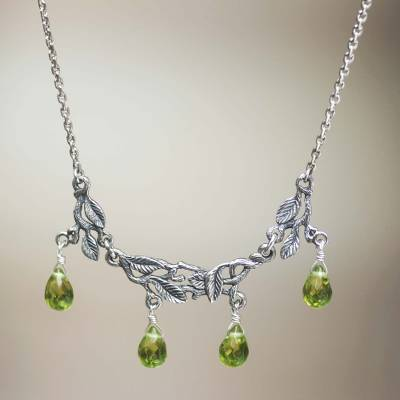 Sterling silver pendant necklace, 'Rainforest' - Sterling silver pendant necklace