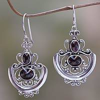 Garnet dangle earrings, 'Arabesques' - Sterling Silver Garnet Dangle Earrings