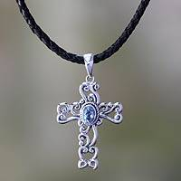 Topaz cross necklace, 'Balinese Cross' - Elegant Blue Topaz Silver with Black Leather Necklace