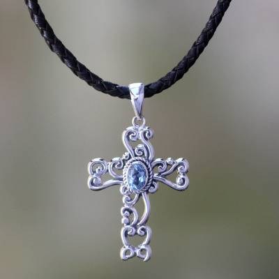 silver chain with blue pendant