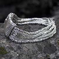 Sterling silver braided bracelet, 'Embrace Unity'