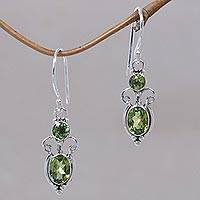 Peridot dangle earrings, 'Crown Princess' - Peridot Sterling Silver Earrings from Bali and Java