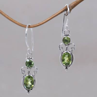Peridot dangle earrings, 'Crown Princess' - Peridot Sterling Silver Dangle Earrings