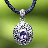 Leather and amethyst pendant necklace, 'Wild Beauty' - Hand Made Pendant of Sterling with Amethyst Stone