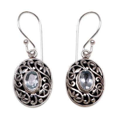 Blue Topaz Sterling Silver Dangle Earrings