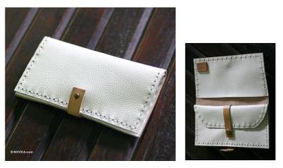 Leather wallet, 'Urban White' - Handcrafted Leather Wallet