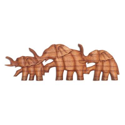 Wood wall panel, 'Hand in Hand' - Wood Elephant Relief Panel