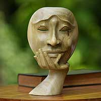 Wood sculpture, 'Man in Thought II' - Unique Dark Hibiscus Wood Face Sculpture