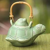 Ceramic teapot, 'Turtle Mom' - Mama and Baby Turtle Ceramic Teapot