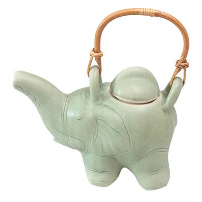 Ceramic teapot, 'Elephant Green Tea' - Indonesian Ceramic Teapot