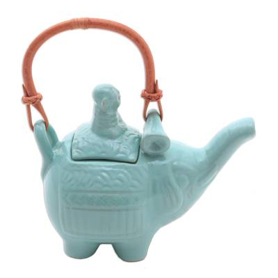 Ceramic teapot, 'Buddha and the Turquoise Elephant' - Handmade Blue Ceramic Teapot