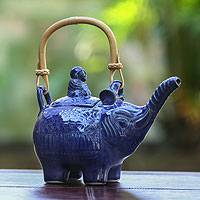 Ceramic teapot, 'Buddha and the Sapphire Elephant' - Unique Elephant Ceramic Teapot