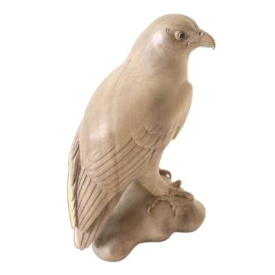 Wood sculpture, 'Eagle Protector' - Wood sculpture