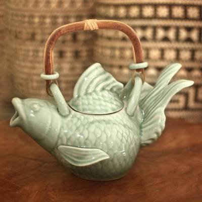 Stoneware teapot, Green Fish Legend
