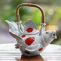 Stoneware teapot, 'Mottled Red Fish Legend' - Stoneware teapot