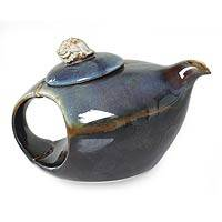 Stoneware ceramic teapot, 'Seashell on Blue' - Artisan Crafted Stoneware Ceramic Teapot