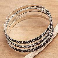Sterling silver bangle bracelets, 'Lighthearted' (set of 3) - Sterling Silver Bangle Bracelets (Set of 3)