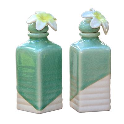 Celadon Ceramic Green Floral Oil Bottles (Pair)