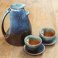 Stoneware ceramic tea set, 'Blue Vortex' - Fair Trade Modern Ceramic Tea Set