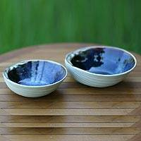 Stoneware ceramic bowls, 'Mystic Blue Oysters' (pair) - Indonesian Ceramic Dinnerware Bowls (Pair)