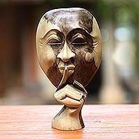 Wood statuette, 'A Secret Shared' - Unique Wood Sculpture